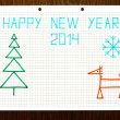 Children's drawing Happy New year 2014 — Stock Photo