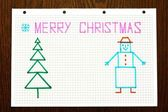 "Children's drawing ""Merry Christmas"" — Foto Stock"