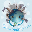 Earth is crying. Save your planet — Vector de stock