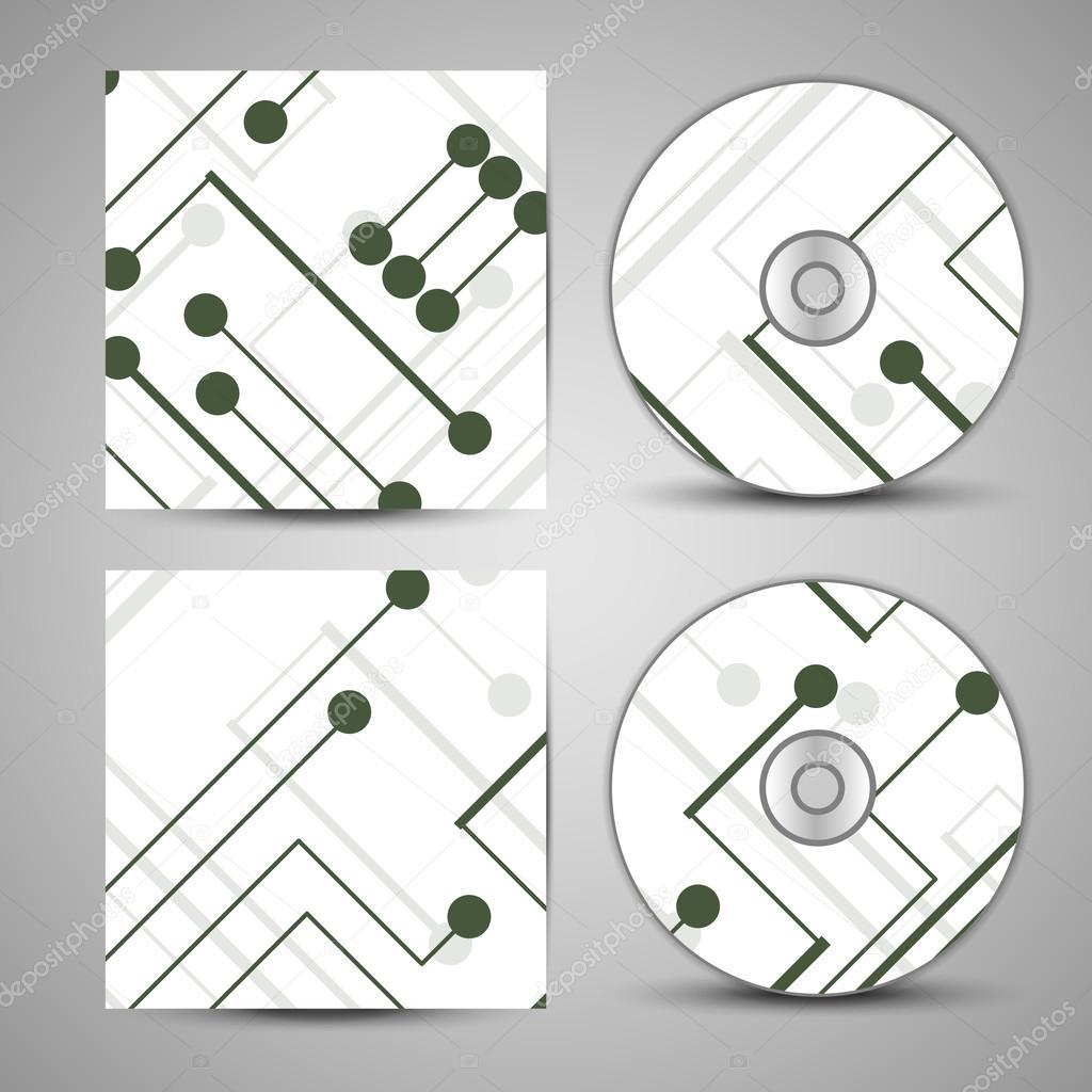 设置为您的设计,电路板图的矢量 cd 封面– 图库插图