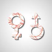 Símbolos de género masculino y femenino — Vector de stock