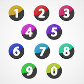 Numbers set, colorful web icon — Stock Vector
