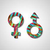 Símbolos de gênero masculino e feminino — Vetorial Stock