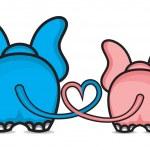 Elephants in love — Stock Vector #21907089