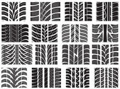 Set of various tire treads — Stock Vector