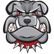 Angry bulldog head - Stock Vector