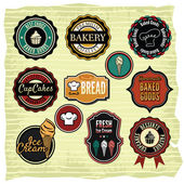 Retro grunge food labels, badges — Stock Vector