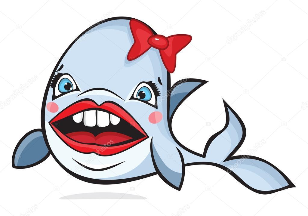 Balena simpatico cartone animato con fiocco — vettoriali