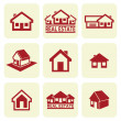 House icons set. Real estate. - Stok Vektör