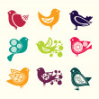 Stock Vector: Set of cartoon doodle birds icons