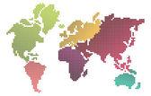 Mapa del mundo pixel — Vector de stock