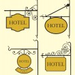 Stock Vector: Set of hotel sign board