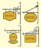 Set of hotel sign board — Stock Vector