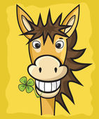Donkey with clover — Stock Vector