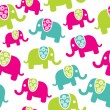 Seamless retro elephant pattern — Stock Vector