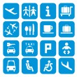 Stock Vector: Airport icons - pictogram set