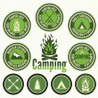Set of retro camping badges and labels — Stock Vector