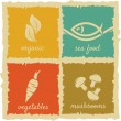 Set of Vintage Food Labels - Stock Vector