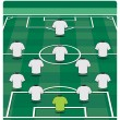 Soccer field layout with formation - Stock Vector