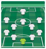Soccer field layout with formation — Stock Vector