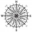 Black wind rose compass isolated on white — Stock Vector