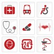 Medicine and Heath Care icons — Vector de stock
