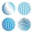 Collection of abstract globe icons - Stock Vector