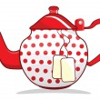 Stock Vector: Retro red teapot