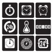 Clocks, time icons set — ストックベクタ