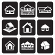 House icons set. Real estate. — Stock Vector