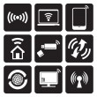 Stock Vector: Wireless technology web icons set
