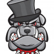 Angry bulldog head with hat — Stock Vector