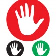 Stock Vector: Stop hand sign