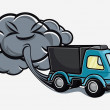 Stock Vector: Cartoon truck blowing exhaust fumes