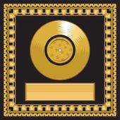 Blank golden LP disc in the frame — Stock Vector