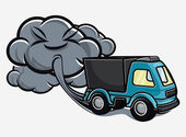 Cartoon truck blowing exhaust fumes — Stock Vector