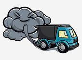 Egzoz gazları üfleme karikatür kamyon — Stok Vektör