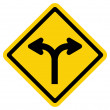 Stock Vector: Forked road sign