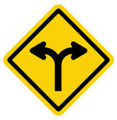 Forked road sign — Stock Vector