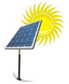 Panneau solaire et du soleil — Vecteur
