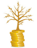 Golden money tree growing out from a coins — Stock Vector