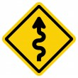 Stock Vector: Winding Road Sign