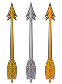 Gold, silver and bronze arrow — Stock Vector