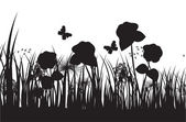 草シルエットのベクトルの背景 — ストックベクタ