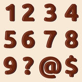 Set of Chocolate numbers and signs — Stock Vector