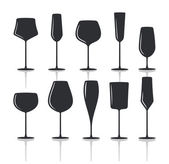 Collection of black wine glasses silhouettes t — Stock Vector