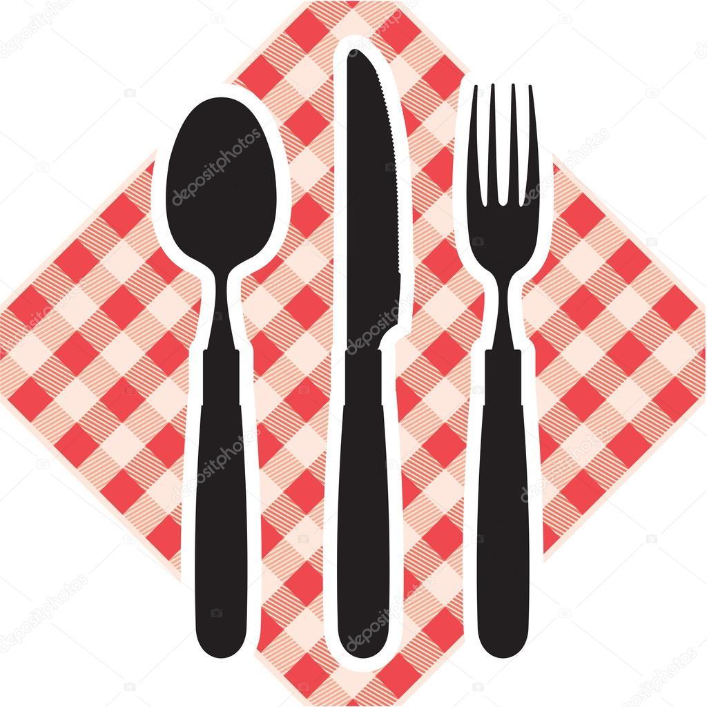 Cuchillo tenedor y cuchara vector de stock for Plato tenedor y cuchillo