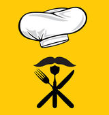Menu design chef hat with fork, spoon, knife and mustache — Stock Vector