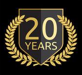Corona di alloro d'oro 20 anni — Vettoriale Stock