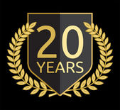 Golden laurel wreath 20 years — Vector de stock